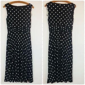Brown and White Polka Dot Dress Sleeveless Midi 6